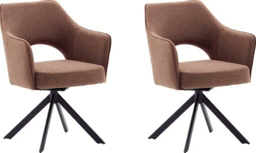 Zestaw dwóch krzeseł w stylu vintage - rdzawobrązowe