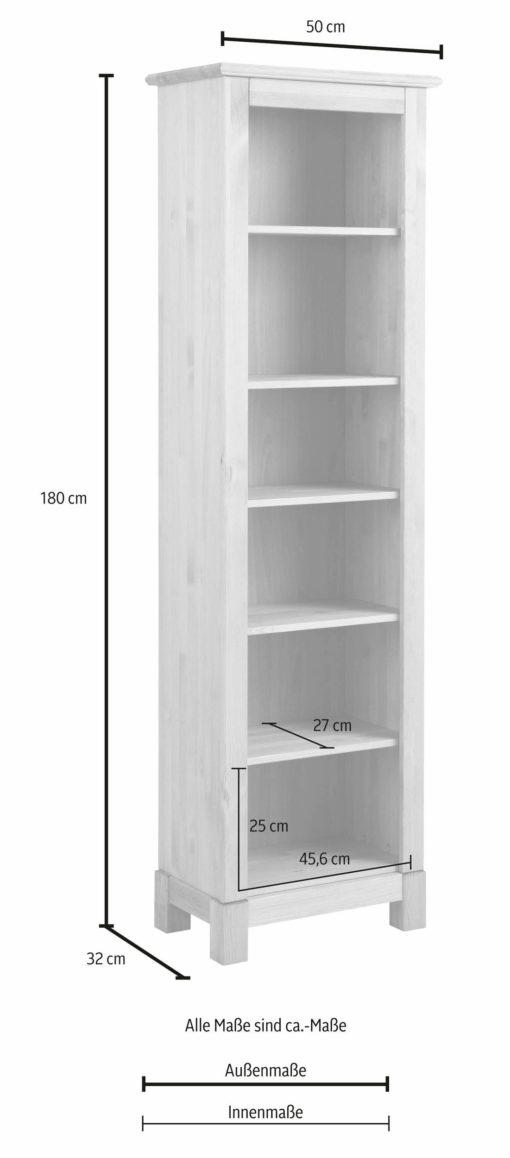 Regał z litego drewna sosnowego w stylu rustykalnym, biały