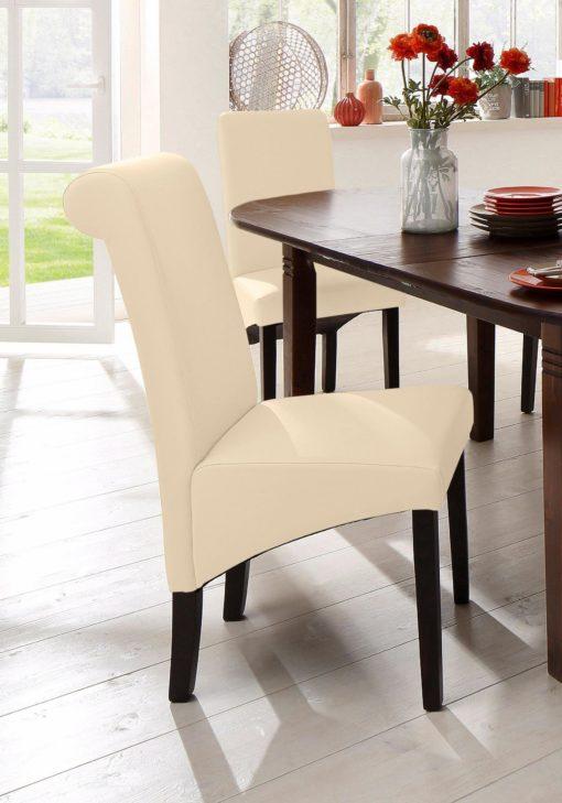 Beżowe krzesła z naturalnej skóry, nogi wenge - 2 sztuki