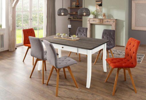 Drewniany rozkładany stół 140 cm biały z szarym blatem