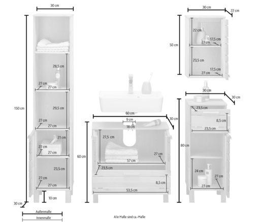 Meble łazienkowe sosnowe, zestaw szafek, białe
