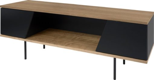 Szafka rtv 140 cm nowoczesna, orzech - czarny mat