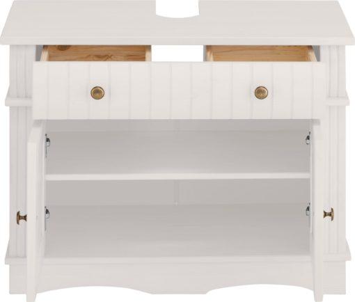 Piękna szafka pod umywalkę, sosnowa, biała, rustykalna