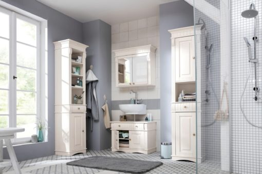Piękna sosnowa szafka pod umywalkę, biała, rustykalna