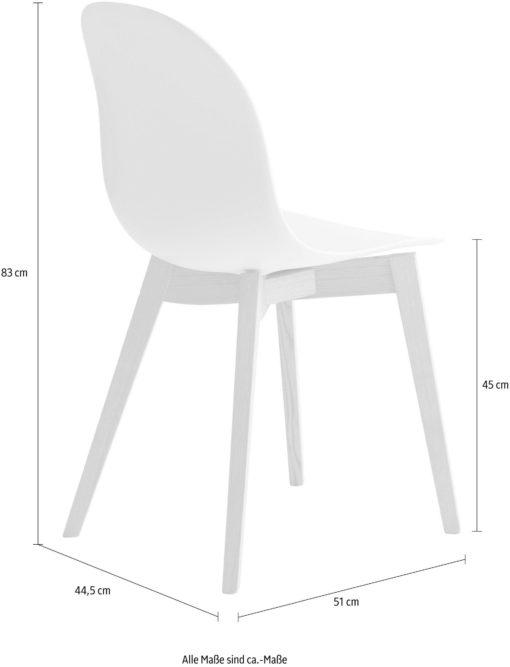 Krzesła białe na jesionowych nogach, włoski design - 2 sztuki