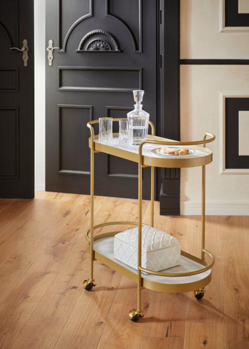 Złoty wózek do serwowania/ barek, półki jak marmur