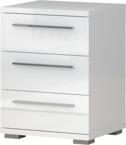 Mała komoda trzy szuflady biała w połysku