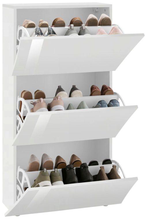 Szafka na buty biała w połysku, nowoczesny design