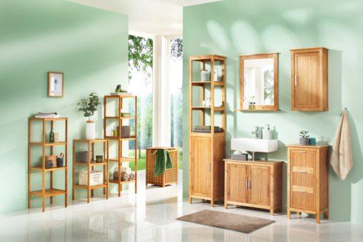 Solidna bambusowa szafka pod umywalkę