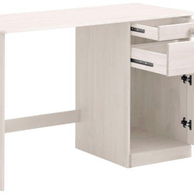 Sosnowe biurko z szufladami i schowkiem, klasyczne, białe