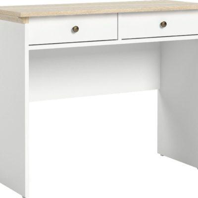 Biurko Paris lub konsola z szufladami, biało-dębowe