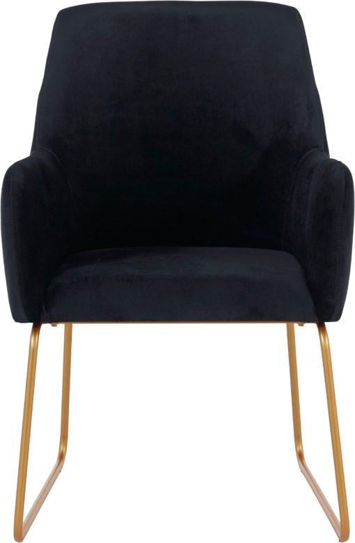 Czarny fotel na metalowych nogach, w stylu retro