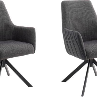 Obrotowe fotele do jadalni, antracytowe - 2 sztuki
