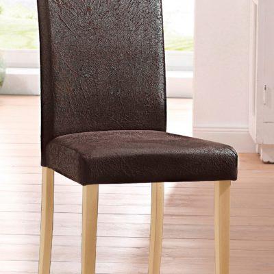 Brązowe krzesła ciekawie tapicerowane - 2 sztuki