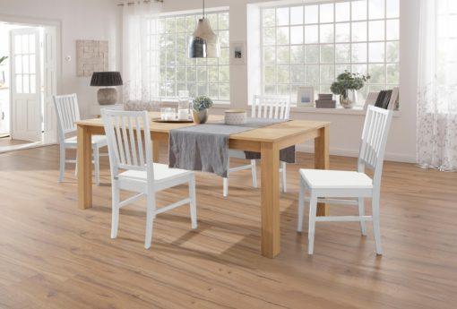 Zestaw białych bukowych krzeseł do jadalni - 2 sztuki
