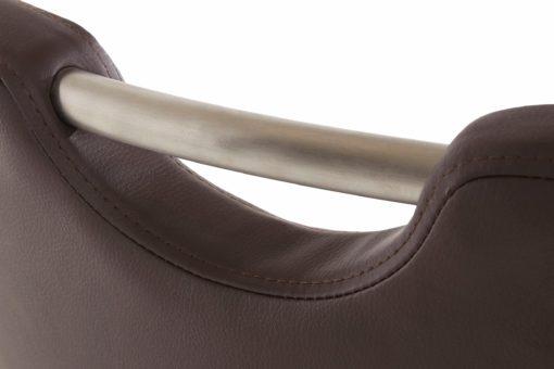 Brązowe krzesła na płozach, ze sztucznej skóry - 2 sztuki