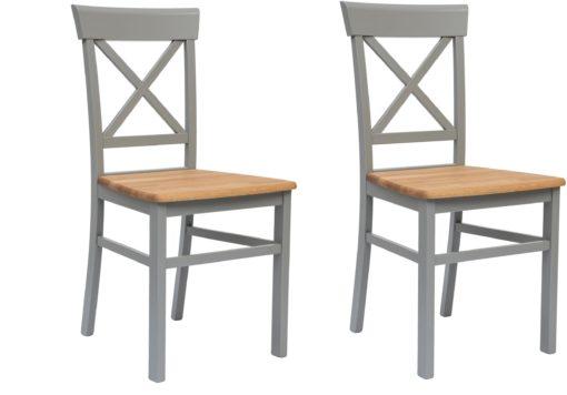 Drewniane krzesła w kolorze jasnoszary/dąb - 2 sztuki