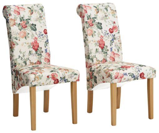 Piękne krzesła z motywem kwiatowym w stylu retro - 2 sztuki