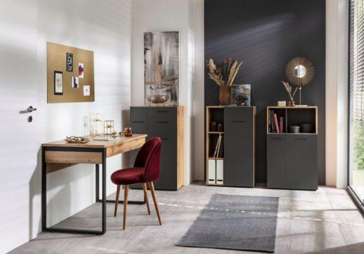 Dębowo-grafitowa komoda do pokoju lub biura
