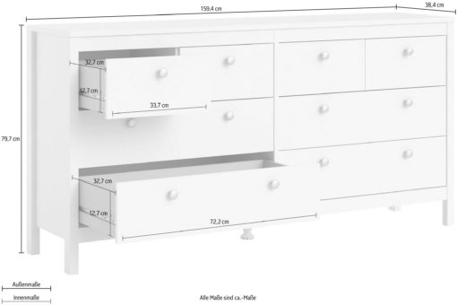 Duża biała komoda z aż ośmioma szufladami, duński design