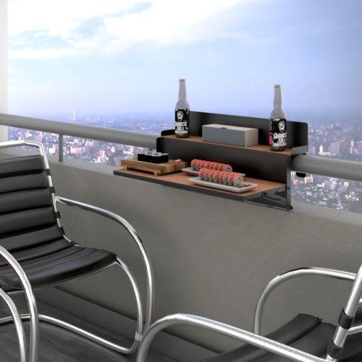 Składany stolik na balkon, czarny, korkowe półki