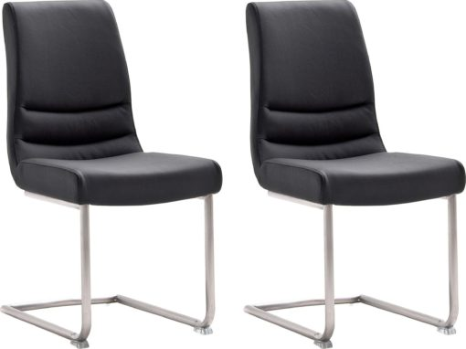 Czarne krzesła na płozach ze stali, prawdziwa skóra - 2 sztuki