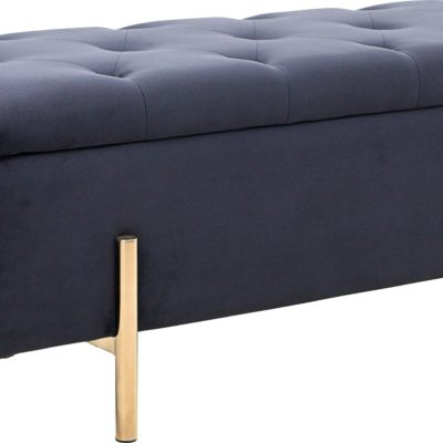 Ławka ze schowkiem i złotymi nogami, czarna