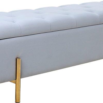 Ławka ze schowkiem i złotymi nogami w odcieniach szarości