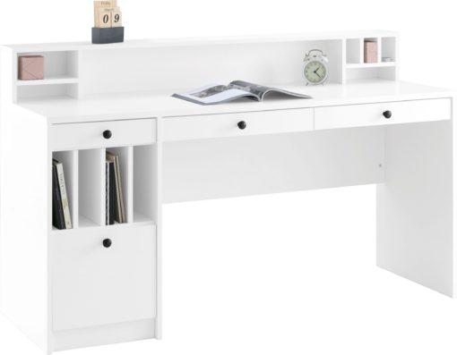 Duże białe biurko z przegrodami i szufladami
