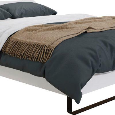 Biała rama łóżka ze stelażem 140x200 cm, czarne nogi