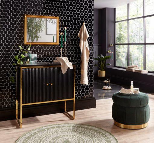 Zielony puff ze schowkiem i złotą podstawą, glamour