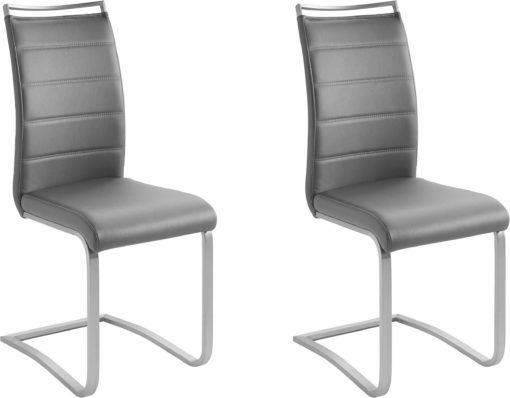 Nowoczesne krzesła na płozach, ekoskóra, szare - 2 sztuki