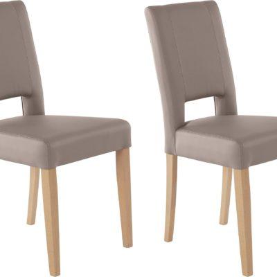 Nowoczesne krzesła bukowa rama, sztuczna skóra - 2 sztuki