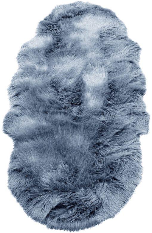 Puszysty dywan z długim włosiem 50x90 cm, oceaniczny niebieski