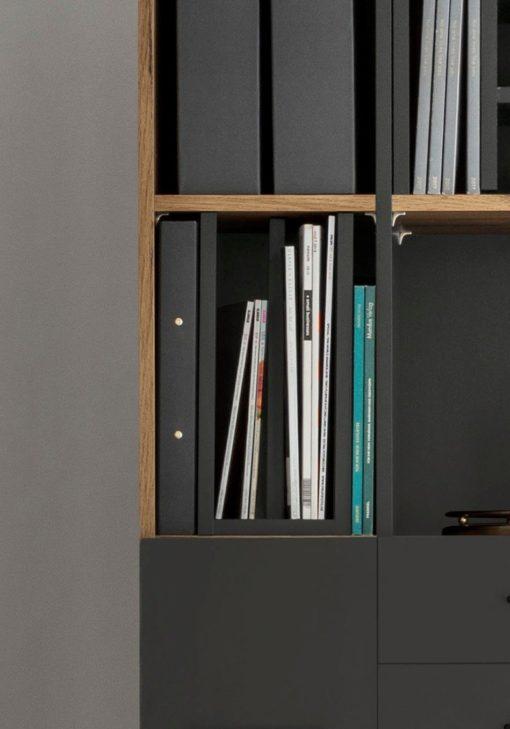 Półka, przegroda do regału na książki, dokumenty, grafitowa