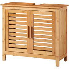 Bambusowa szafka pod umywalkę, dwudrzwiowa
