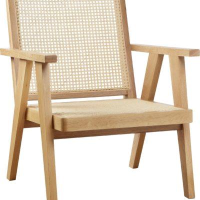 Drewniany fotel rattanowy z wstawkami z wikliny