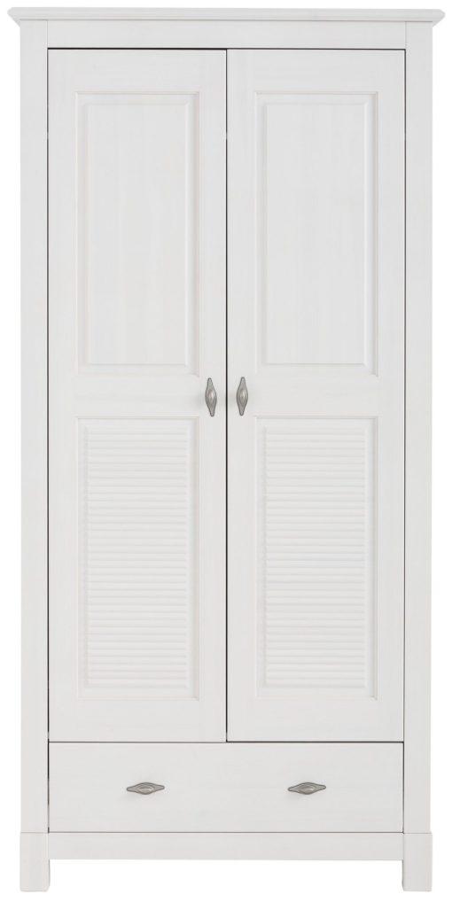 Sosnowa dwudrzwiowa szafa biała z frezowanym frontem