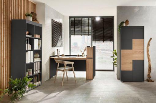 Przestronny regał do pokoju lub biura, czarno-grafitowy
