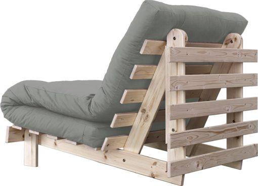 Nowoczesna kanapa z materacem futon 140 cm, szara