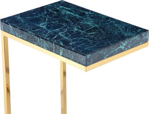 Stolik pomocniczy ze złotymi nogami i zielono-niebieskim blatem