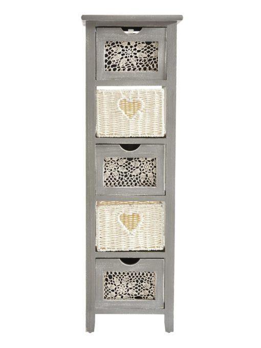 Szara komoda w stylu vintage z pięcioma szufladami