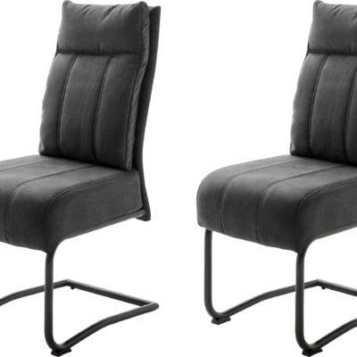 Ciemnoszare krzesła na metalowej ramie - 2 sztuki, sprężyny w siedzisku