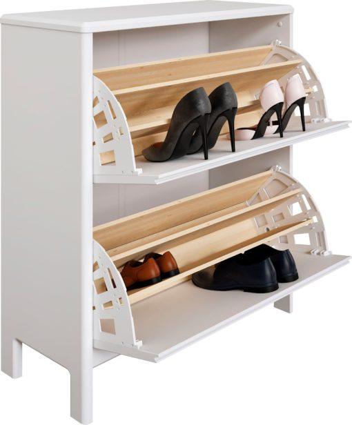 Sosnowa szafka na buty, minimalistyczny styl, biała