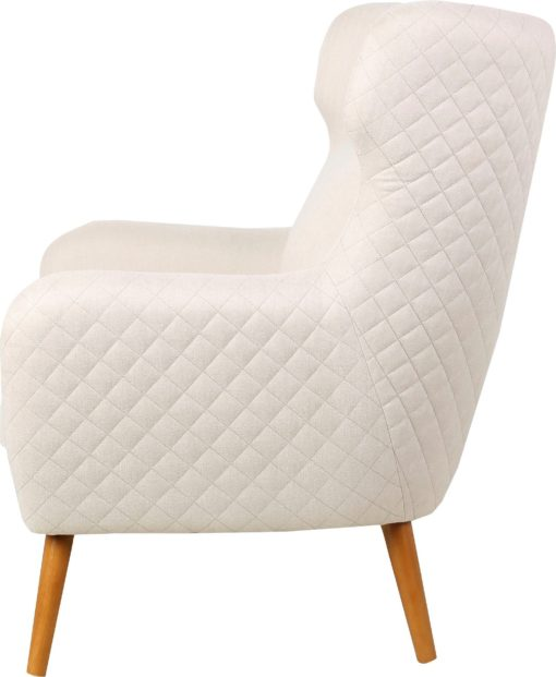 Fotel jak uszak z poduszką i przeszyciami na plecach i bokach, kremowy