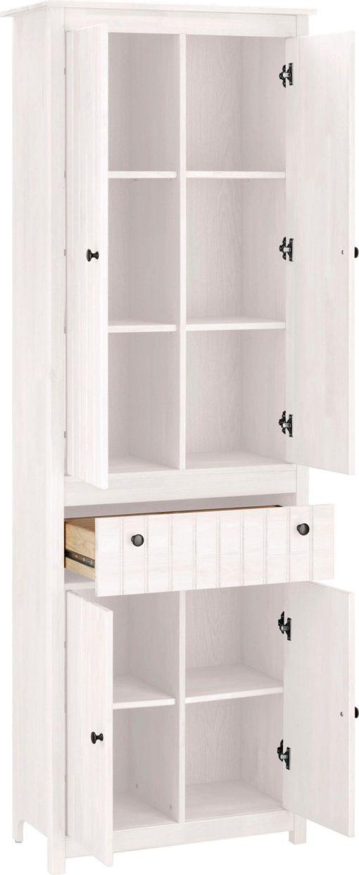 Wysoka sosnowa szafka z czterema drzwiami i szufladą, biała