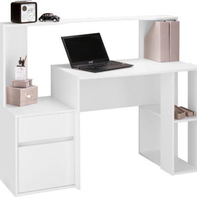 Nowoczesne biurko o przemyślanym układzie, białe