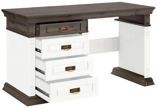 Sosnowe biurko z szufladami, pięknie zdobione, biel-wenge
