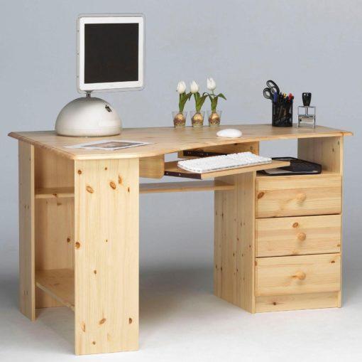 Sosnowe biurko narożne, naturalnie lakierowane