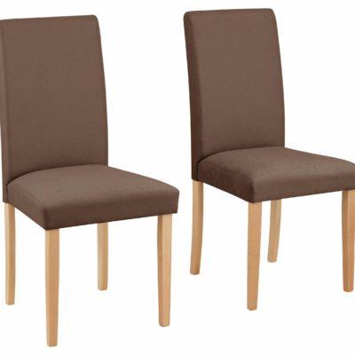 Proste, klasyczne brązowe krzesła - zestaw 2 sztuki